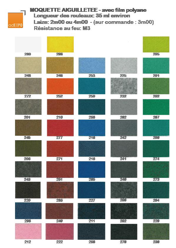 Adexpo moquette aiguillet e nuancier moquettes vel for Moquette anglais